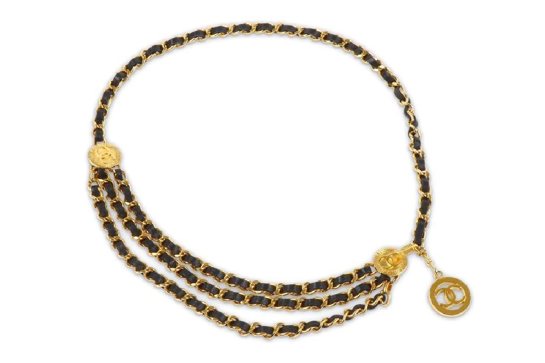 Chanel Chain and Leather Belt Belt, c. 1984, gold tone