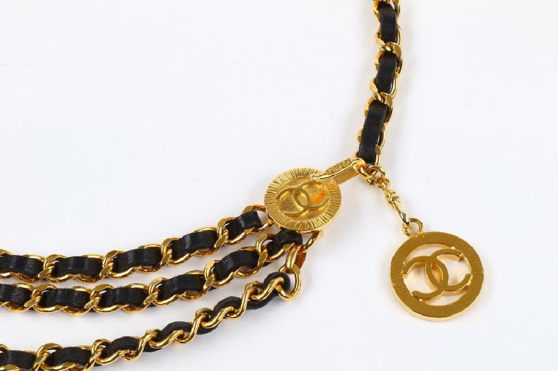 Chanel Chain and Leather Belt Belt, c. 1984, gold tone - 3