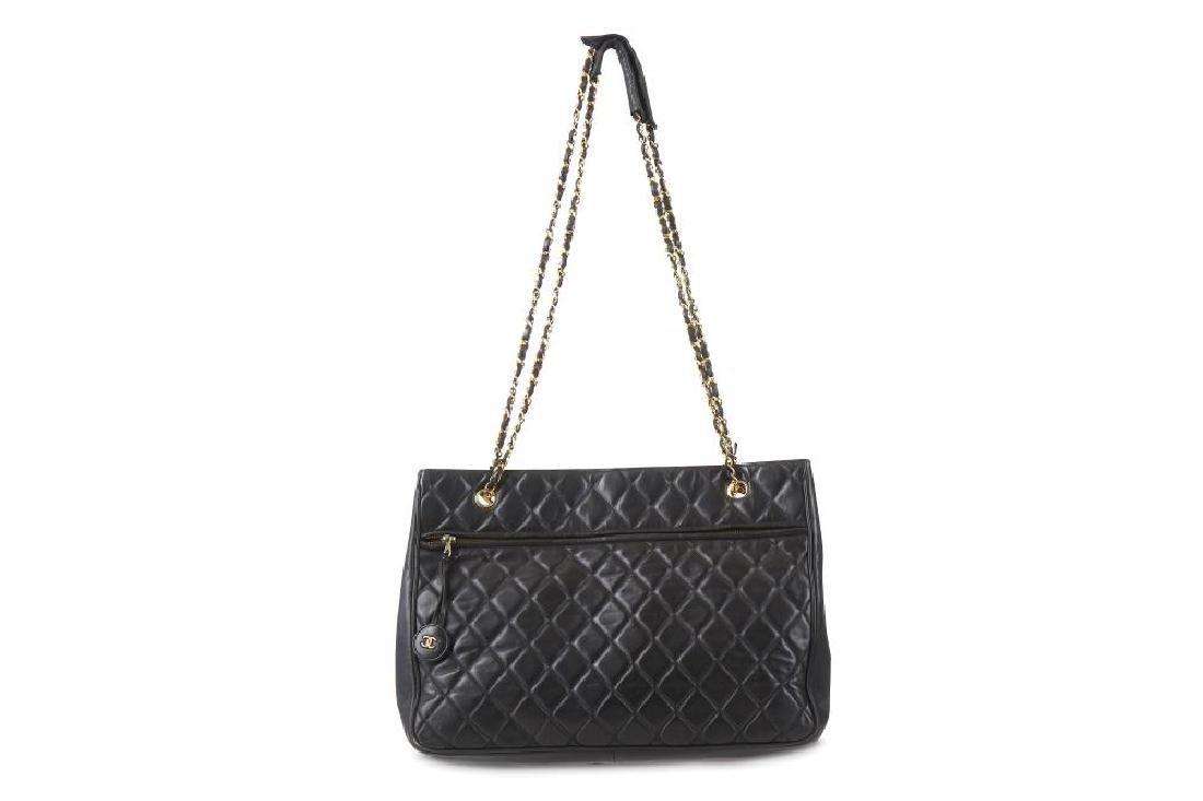 Chanel Black Shoulder Bag, 1980s, quilted lambskin