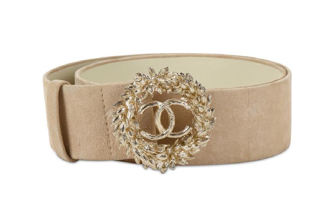 Chanel Suede and Gilt Metal Belt, Spring 2010, beige