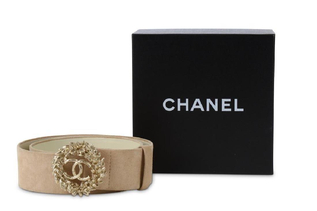 Chanel Suede and Gilt Metal Belt, Spring 2010, beige - 7