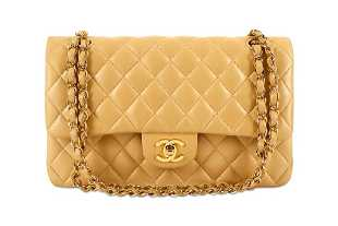 9de28ca1dfbb Chanel Beige Lambskin Leather Quilted Large Flap Bag