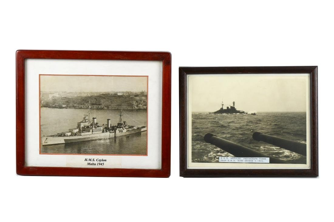 12 FRAMED PHOTOGRAPHS OF WW2 ERA ROYAL NAVY AND OTHER