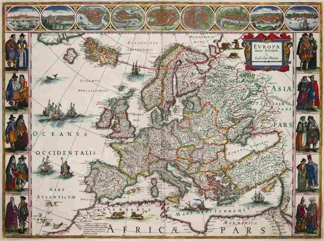 Blaeu (Willem) Europa recens descripta, map of Europe