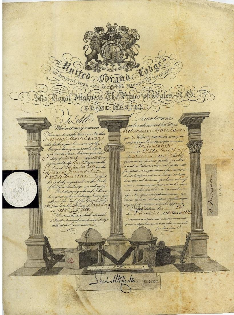 Freemasonry.- Certificate admitting Arthur Morrison to