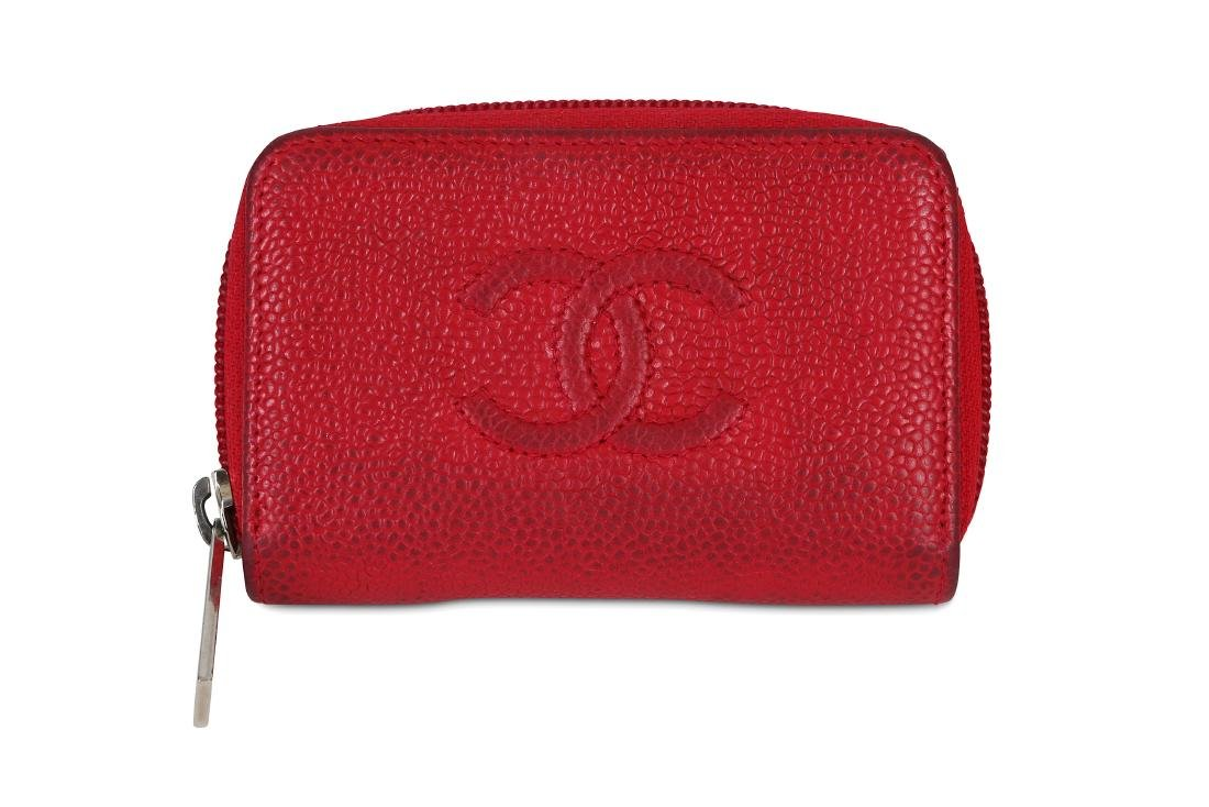 Chanel Red Small Zipped Purse