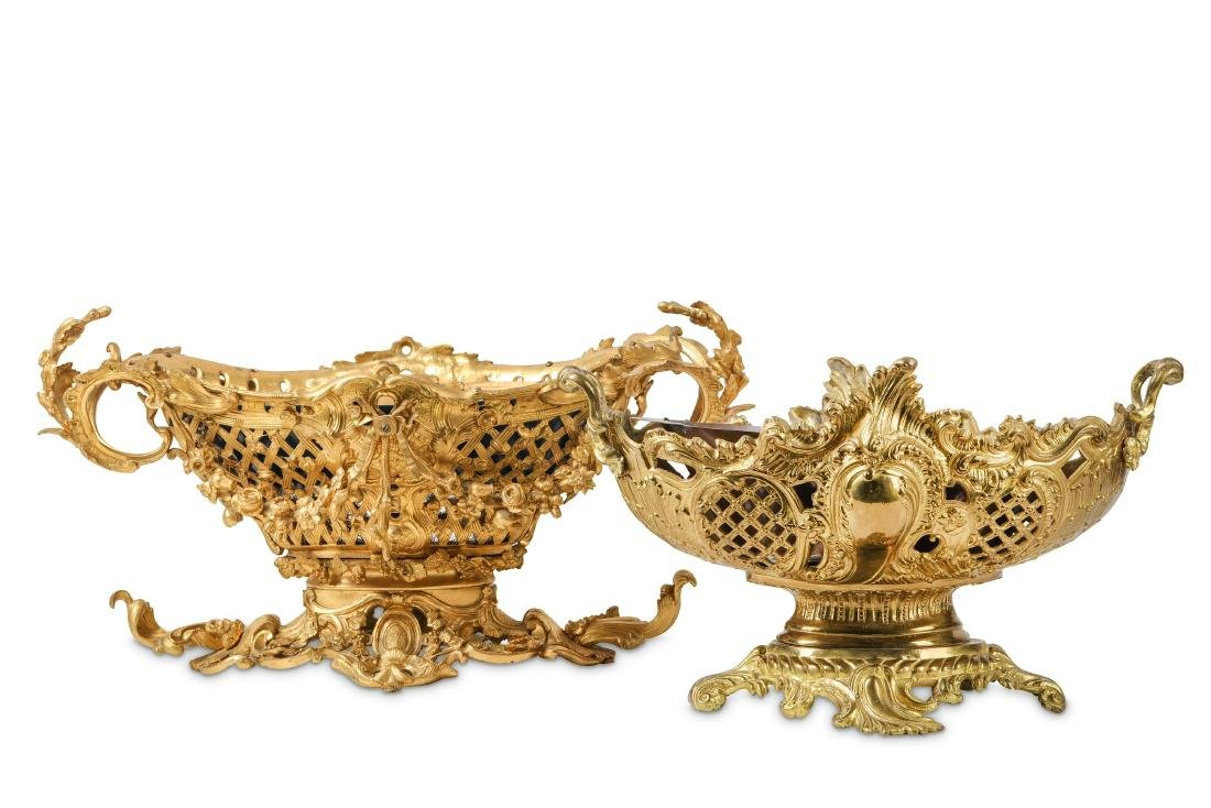 TWO LATE 19TH CENTURY FRENCH GILT BRONZE JARDINIERES IN