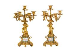 A PAIR OF LATE 19TH CENTURY FRENCH GILT BRONZE AND