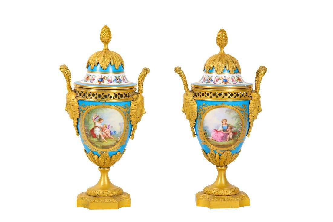 A PAIR OF LATE 19TH CENTURY FRENCH SEVRES STYLE