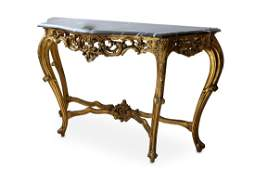 A Louis XV style gilt carved giltwood wood marble