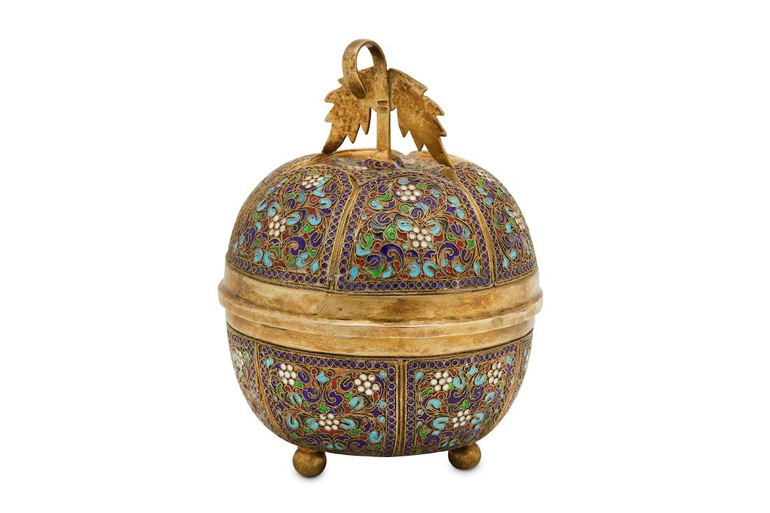 A mid-20th century Iranian silver gilt and cloisonne