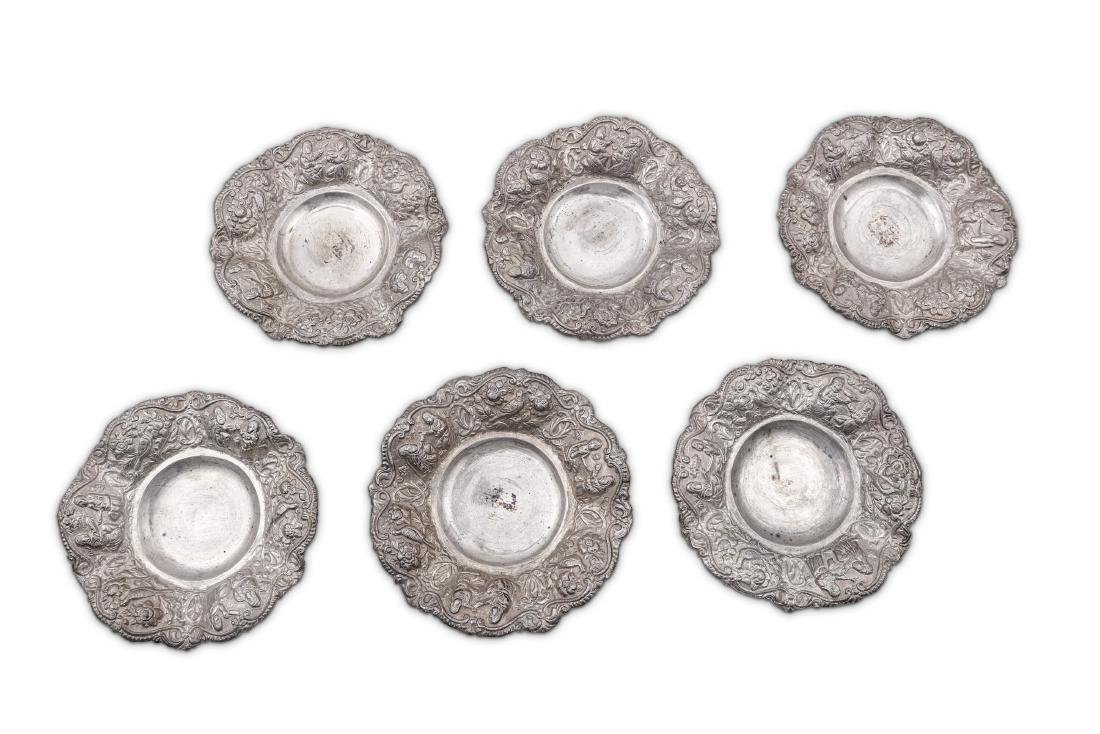 A set of six mid-20th century Iranian unmarked silver