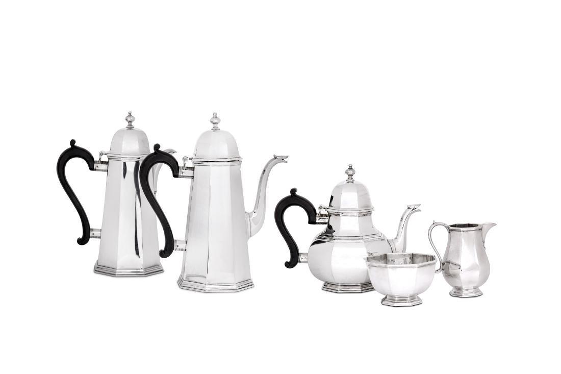 An Elizabeth II sterling silver five-piece tea and