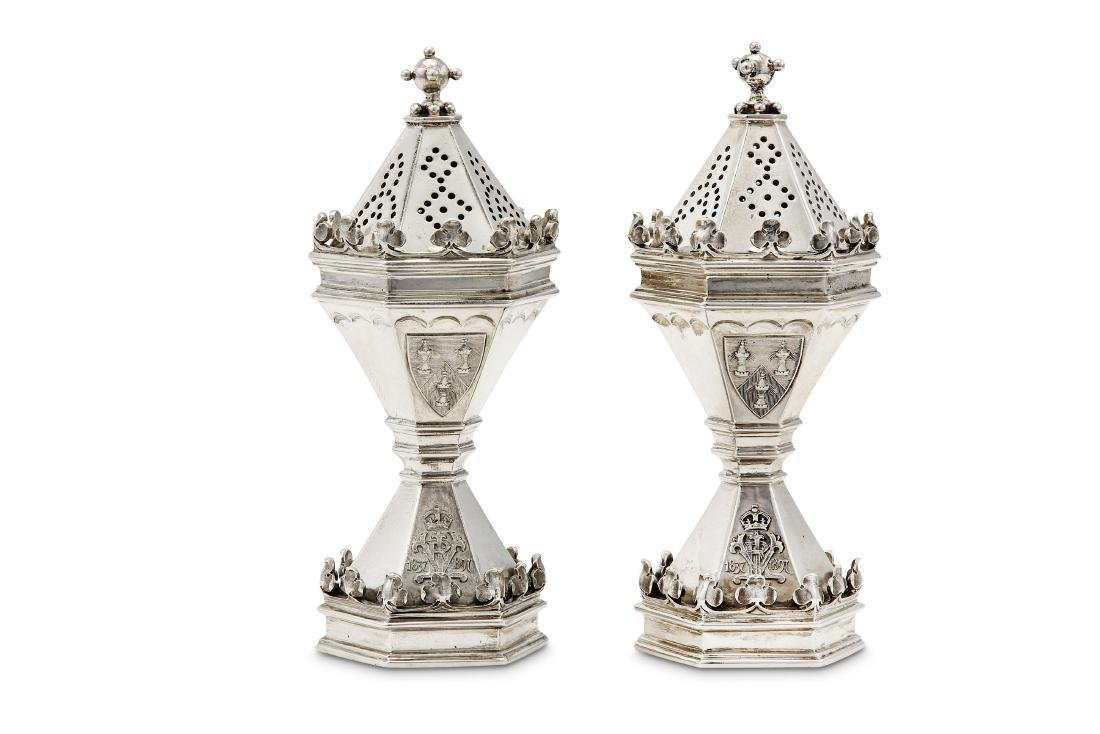 A pair of Victorian sterling silver commemorative