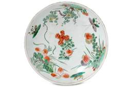 A Chinese famille verte butterfly charger.