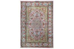 AN EXTREMELY FINE SIGNED SILK QUM RUG, CENTRAL PERSIA