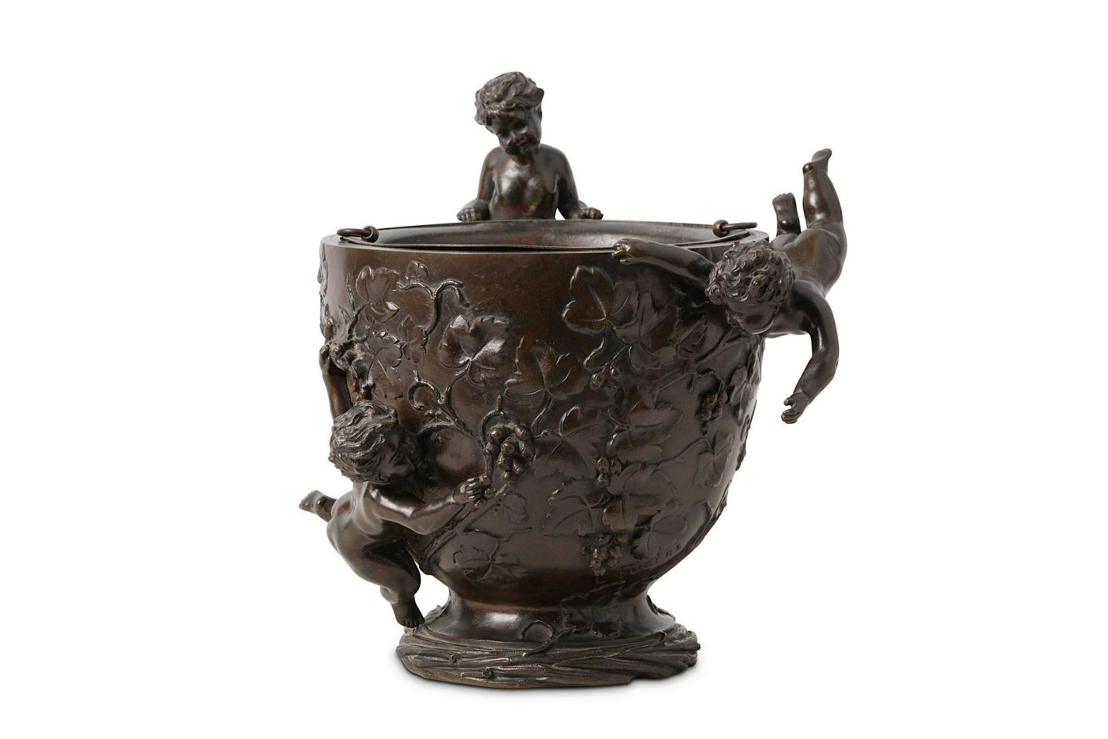 A late 19th century French bronze figural jardiniere