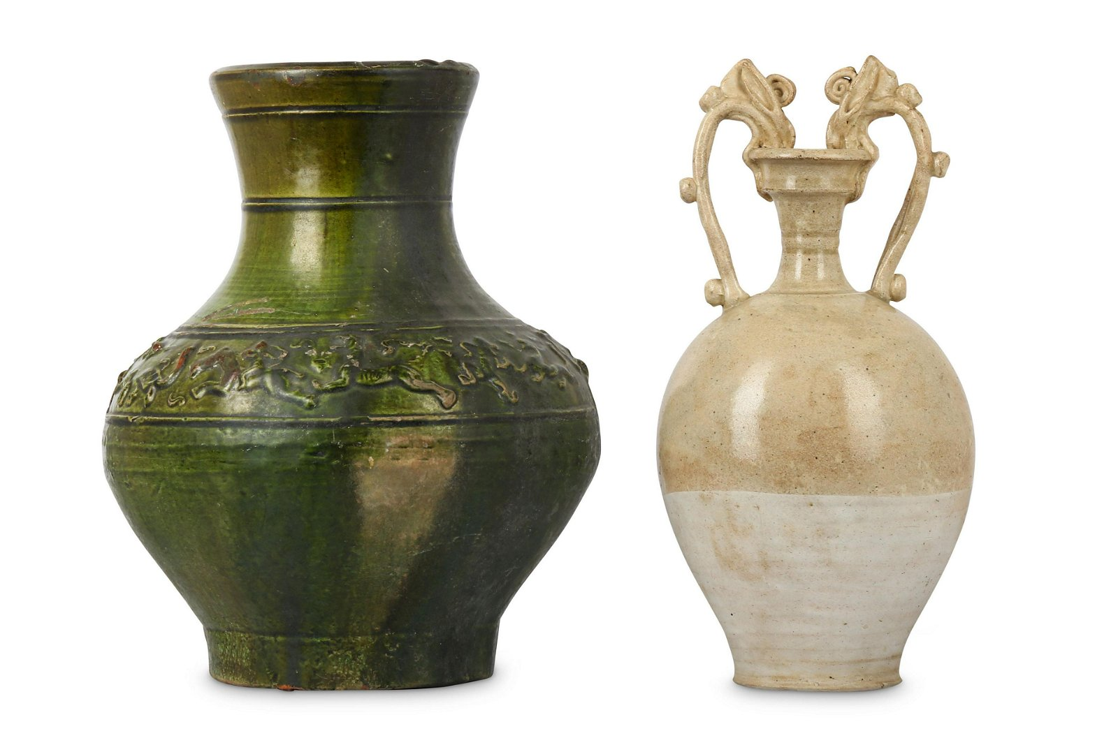 A CHINESE AMPHORA AND A GREEN-GLAZED VASE.