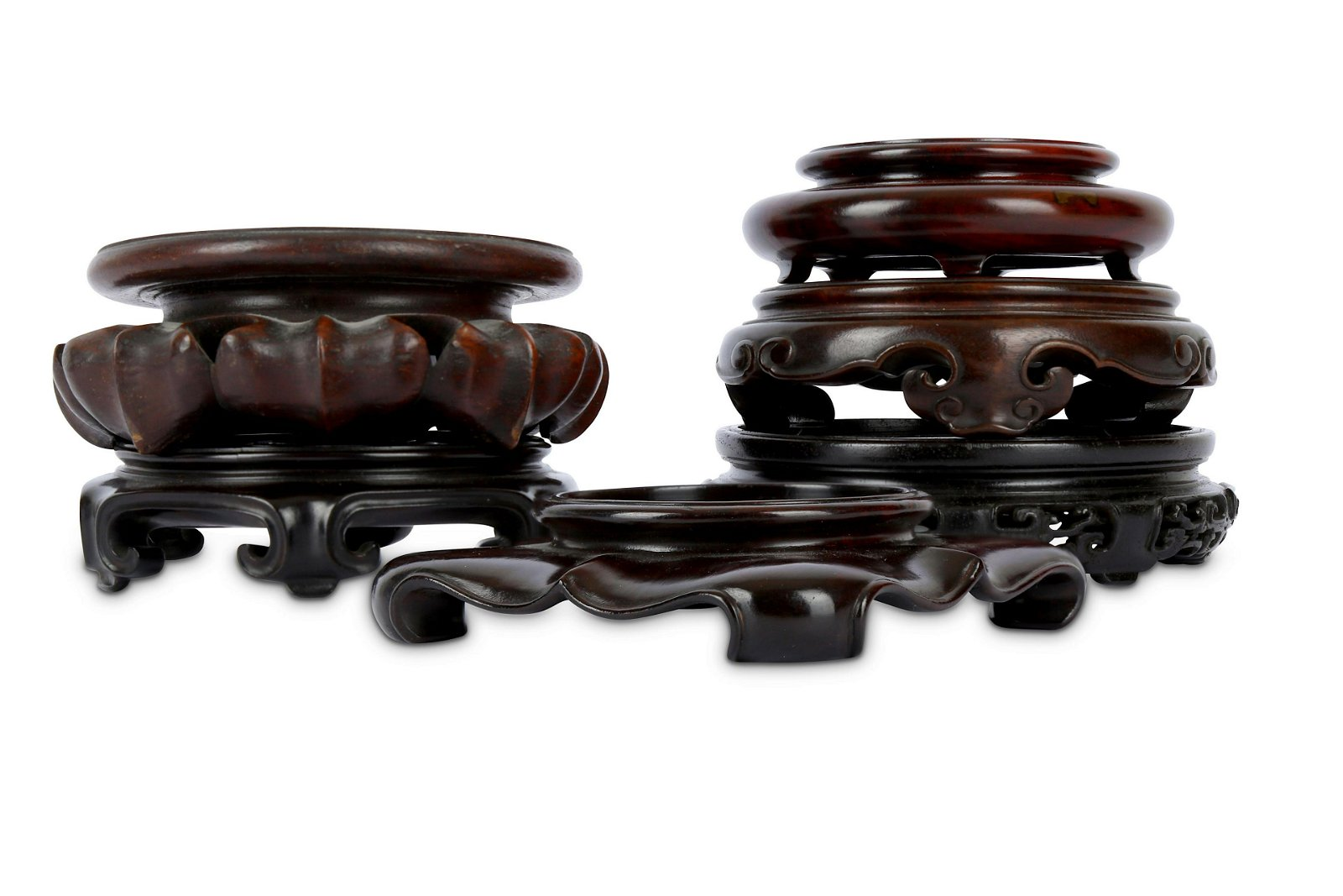 SIX CHINESE WOOD STANDS.