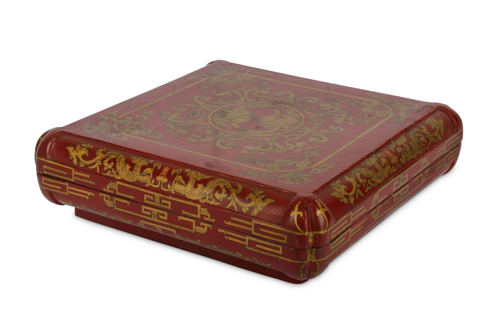 A CHINESE CINNABAR AND GILT-LACQUER WOOD SQUARE-SE