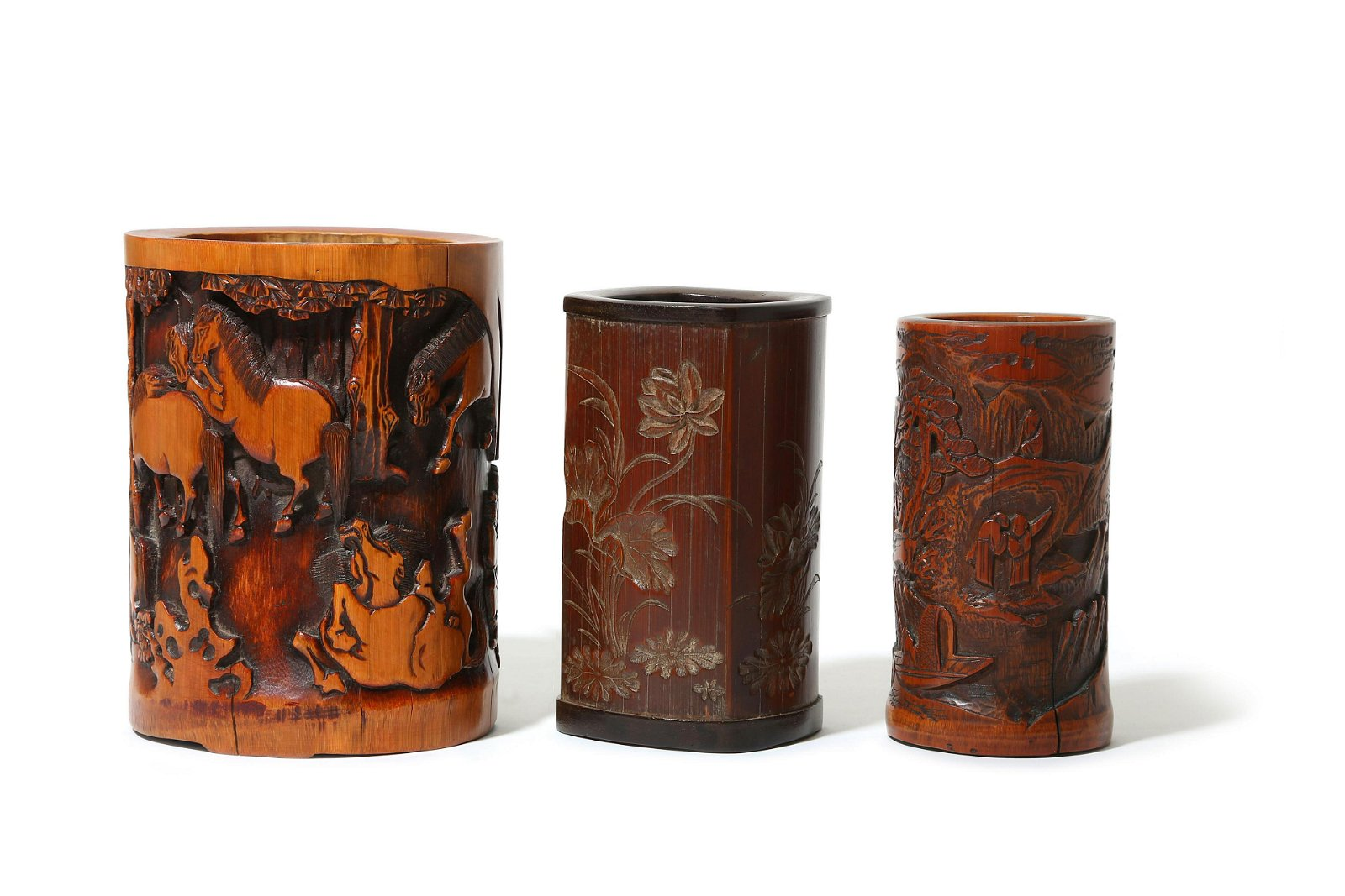 THREE CHINESE BAMBOO BRUSH POTS, BITONG.