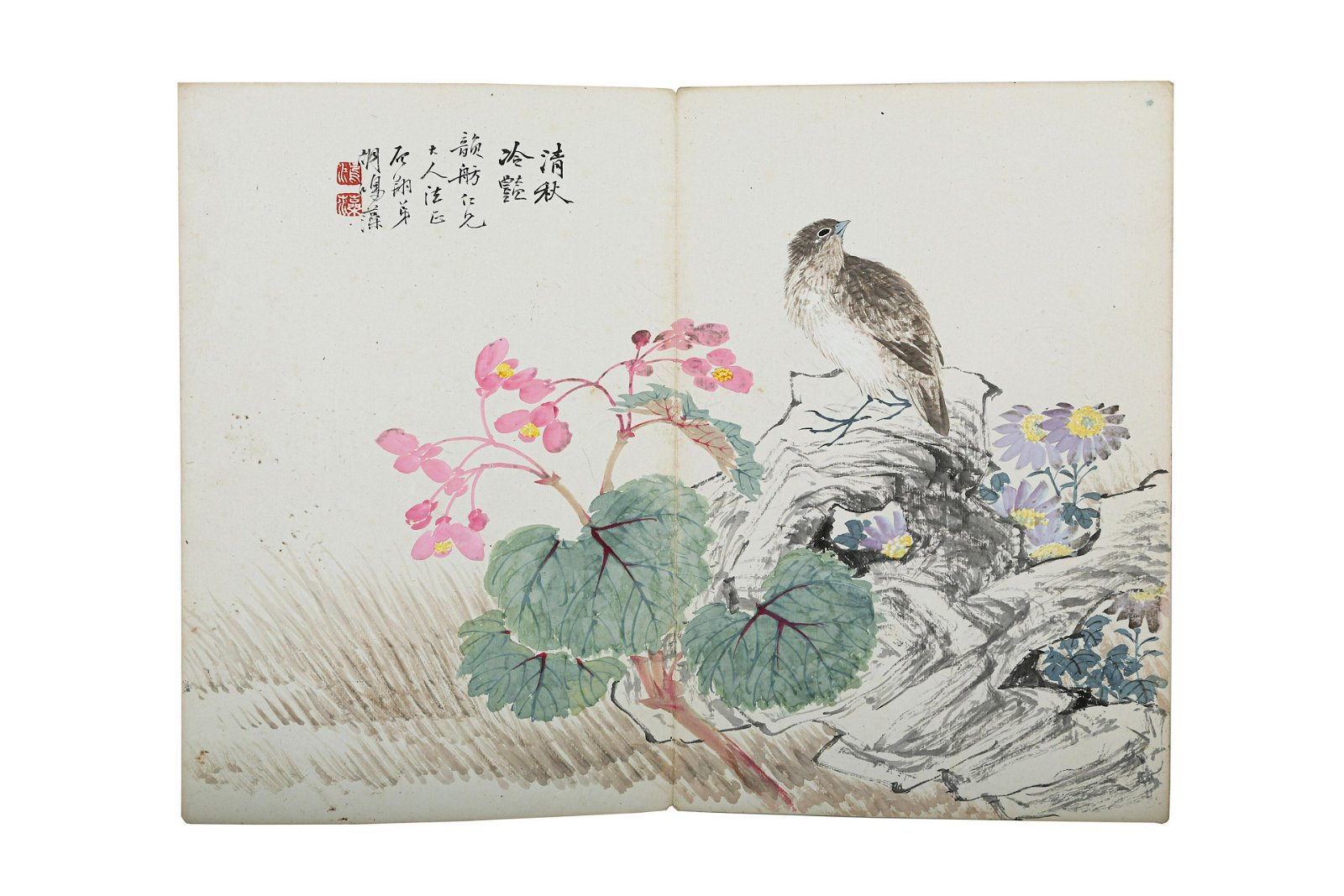 AN ALBUM OF TWELVE CHINESE PAINTING LEAVES.