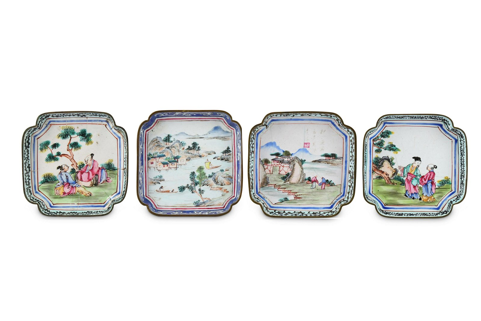 FOUR CHINESE CANTON ENAMEL SQUARE TRAYS.