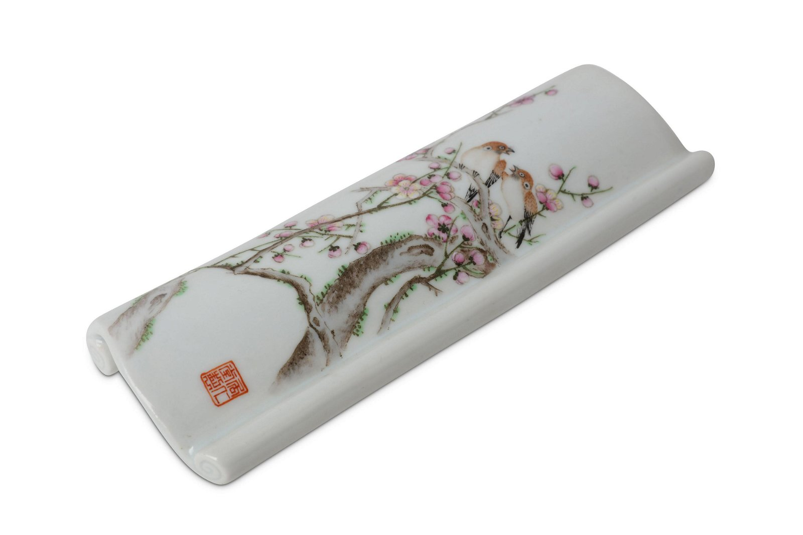 A CHINESE FAMILLE ROSE 'BIRDS AND PRUNUS' BRUSH RE