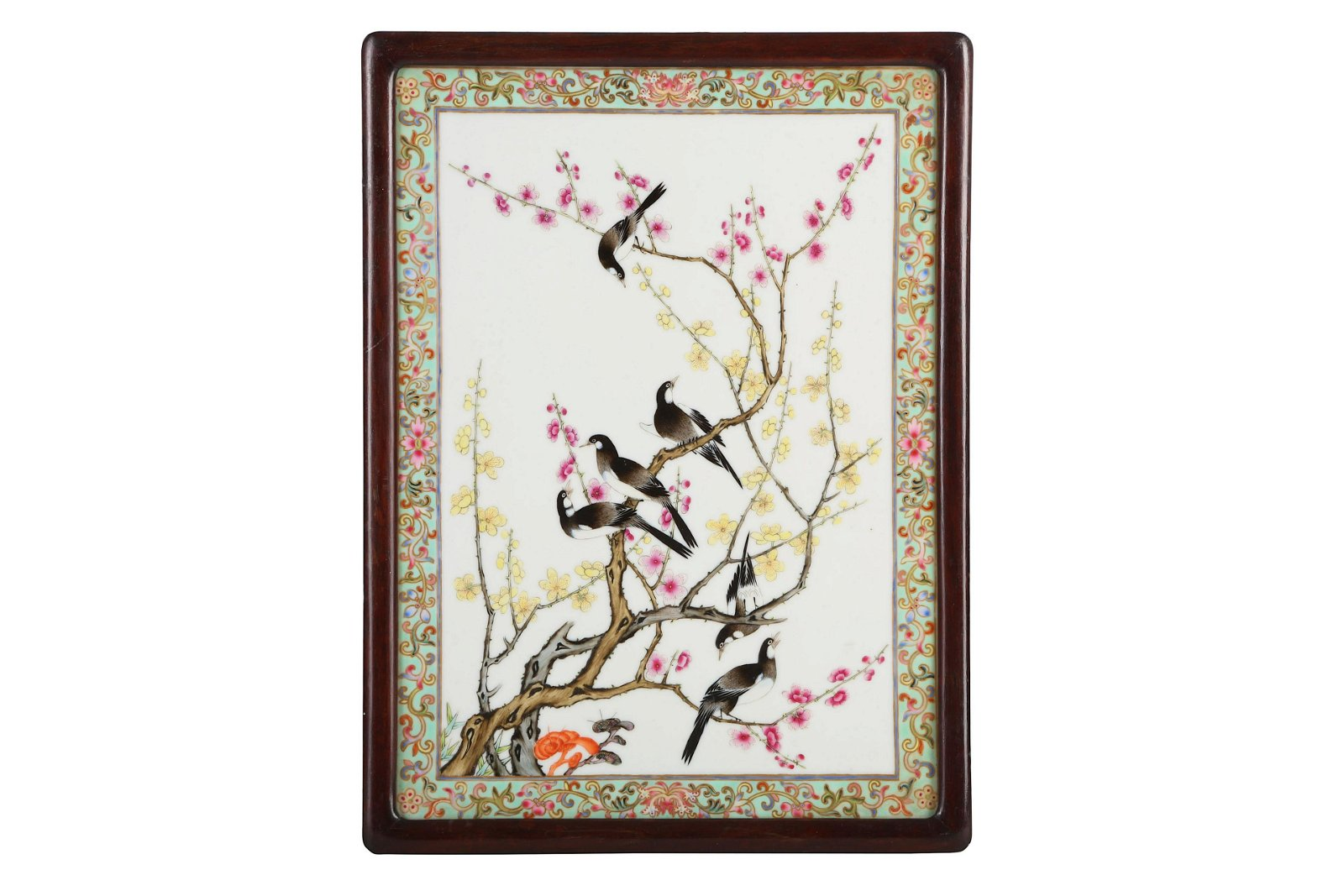 A CHINESE FAMILLE ROSE 'BIRDS AND FLOWERS' PLAQUE.