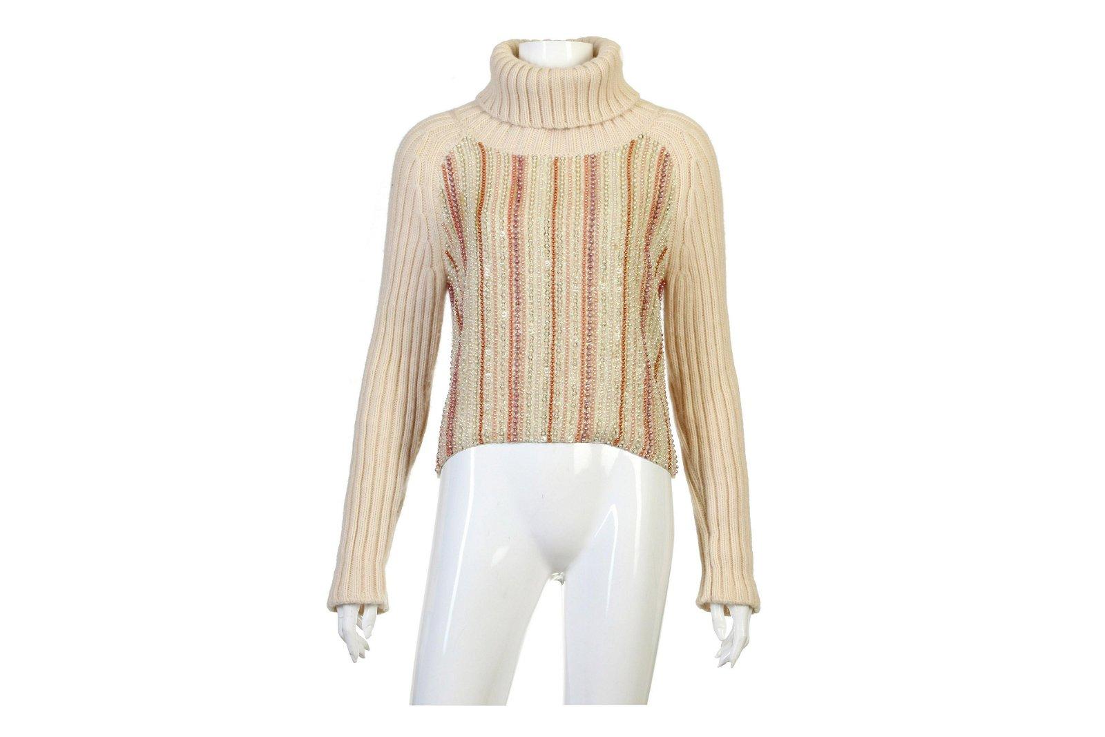 Chanel Embellished Cashmere Roll Neck Jumper