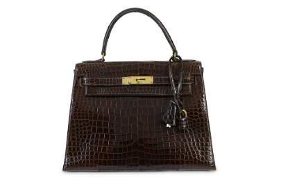 Hermès Dark Brown Crocodile Kelly Sellier 28