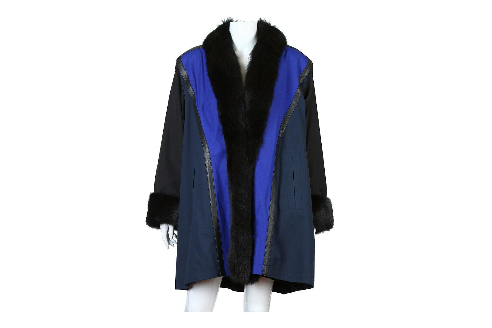 Yves Saint Laurent Fourrures Blue and Black Coat