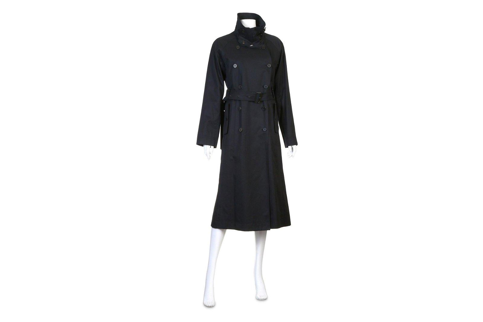 Yves Saint Laurent Black Cotton Trench Coat