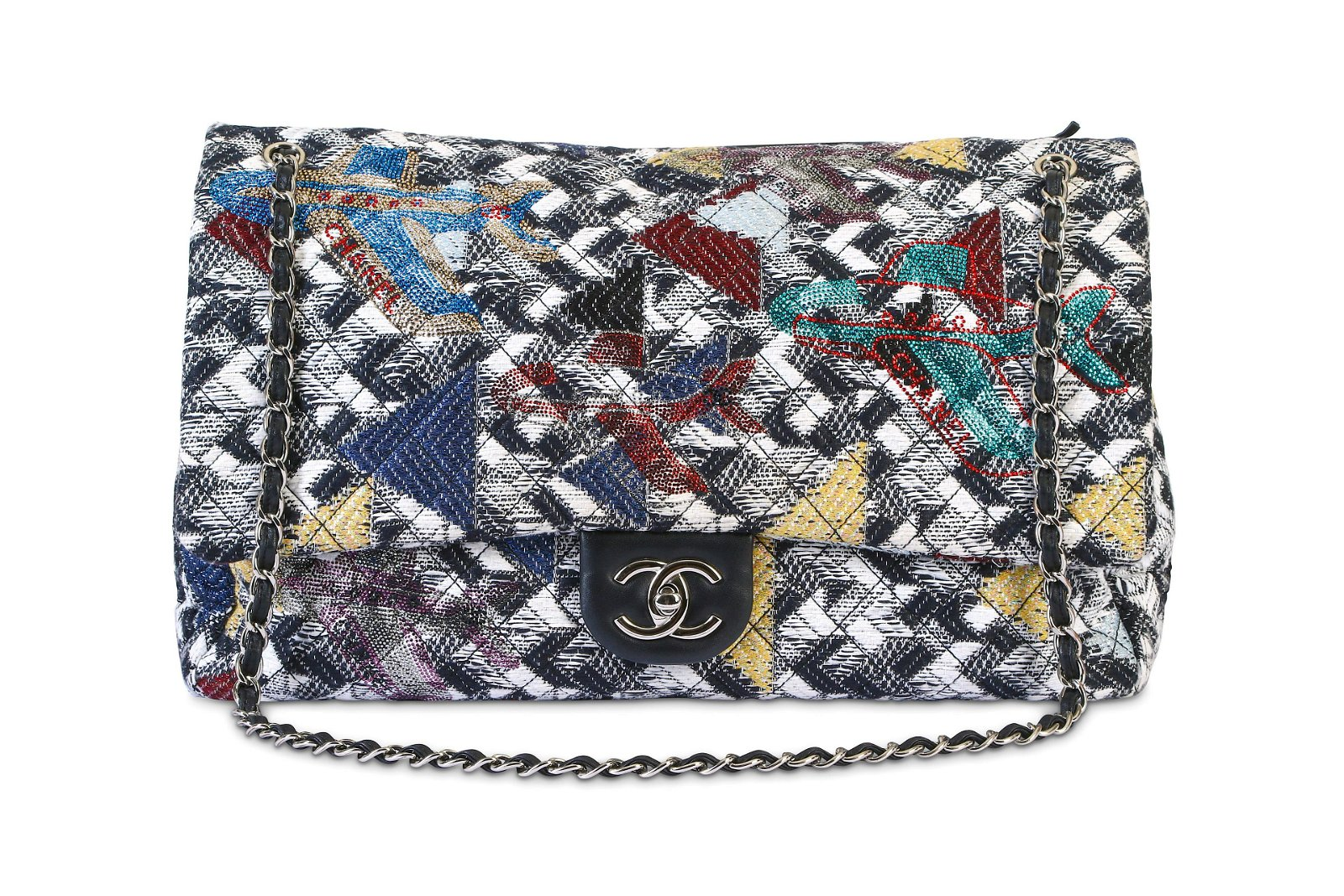 Chanel Airlines Tweed Strass XXL Flap Bag