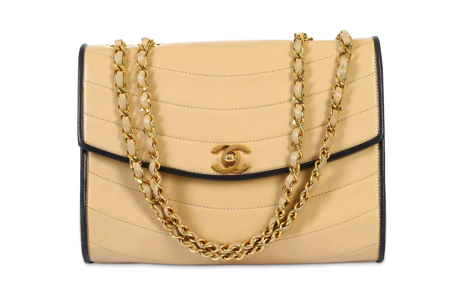 Chanel Vintage Beige Flap Bag