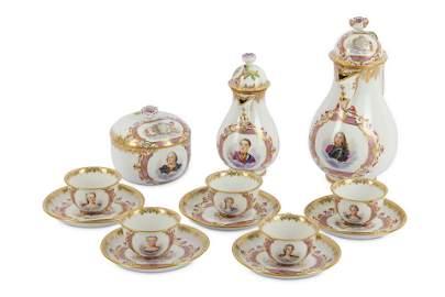 A Meissen porcelain armorial portrait coffee servi