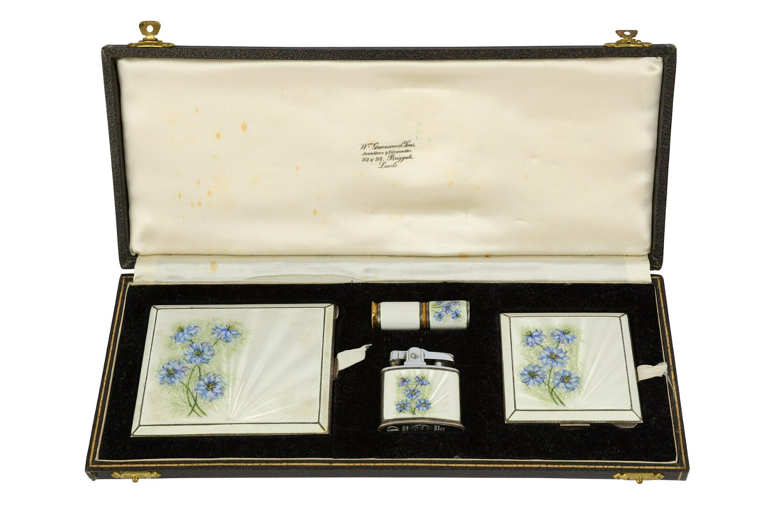 A cased George VI sterling silver and guilloche enamel