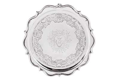 A George II Scottish provincial silver teapot stand,