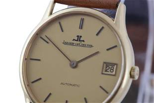 JAEGER LECOULTRE. A FINE VINTAGE MEN'S 18K YELLOW GOLD
