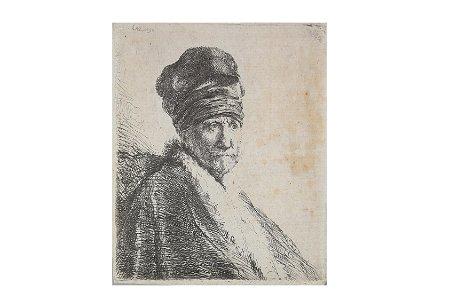 Rembrandt.- Bust of a Man wearing a high cap