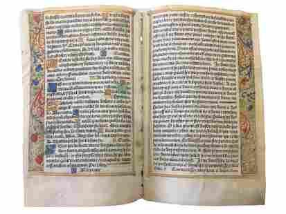 Medieval Manuscript Leaves.-