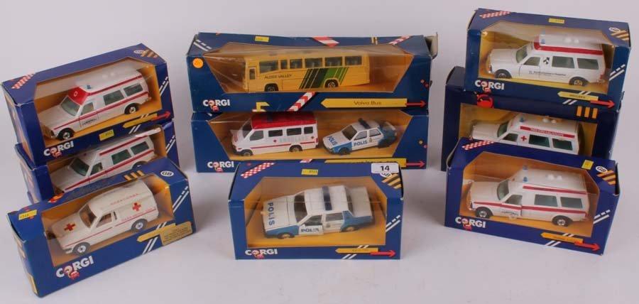 14: Nine boxed Corgi vehicles, Volvo Bus C772, Ambulans