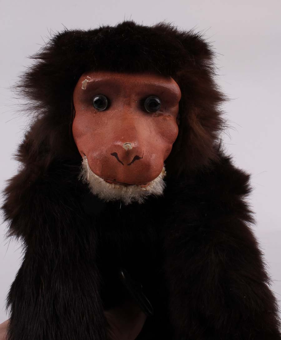 15: A clockwork fur covered leaping monkey, German 1900