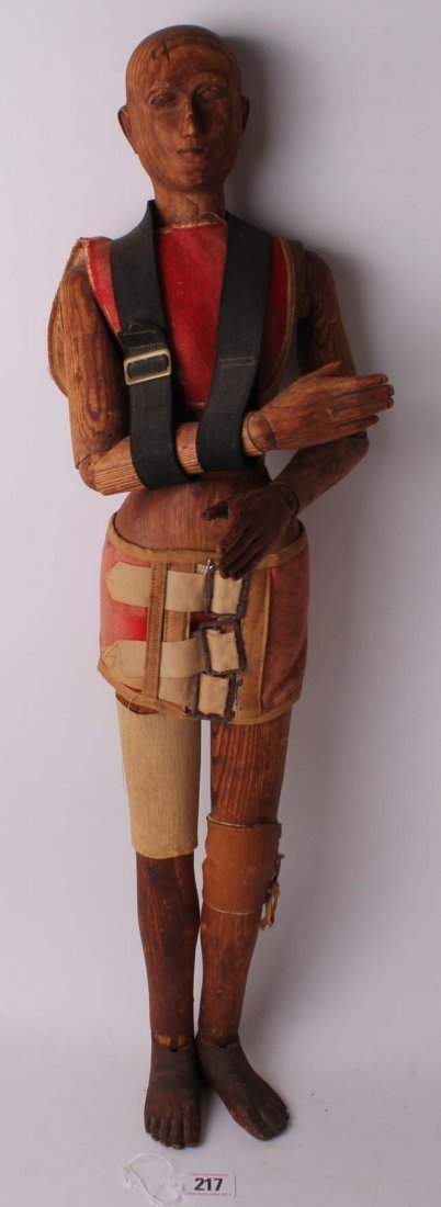 217: A very rare large articulated artist's lay wooden