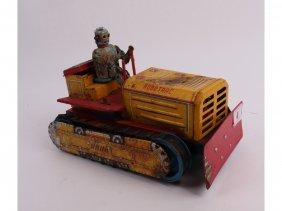 4: A Line Mar Toys Japan 1957 Robot driving a bulldozer
