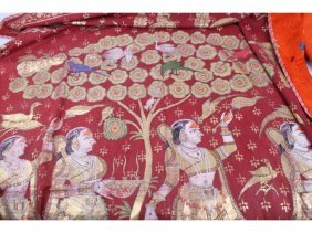 202: Two Indian PIchwas, with gilt foil figurative, flo