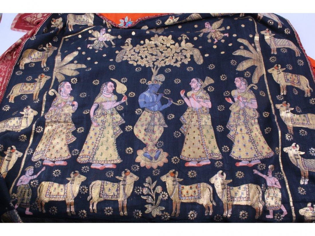 202: Two Indian PIchwas, with gilt foil figurative, flo - 2