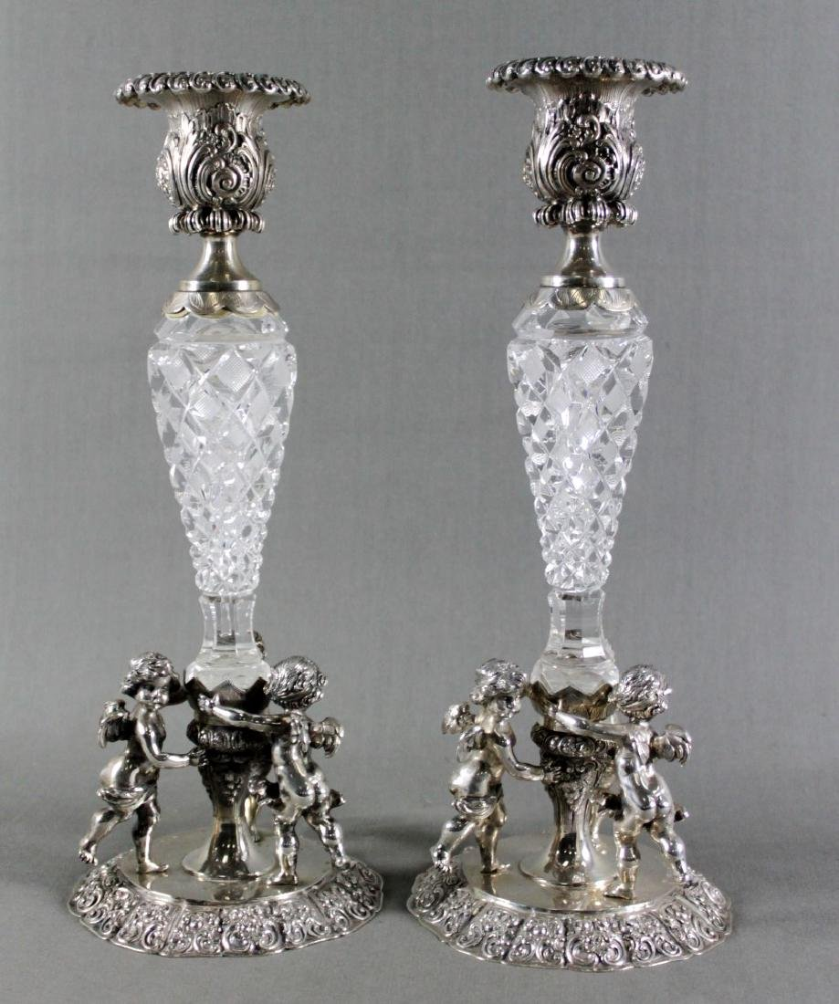 PAIR OF CONTINENTAL SILVER AND BACCARAT CUT GLASS