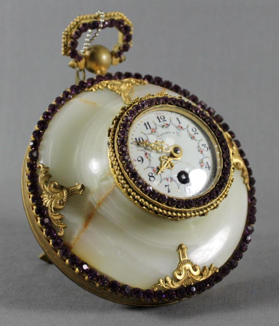 TIFFANY AND CO. JEWELLED BRONZE AND MARBLE BAROMETER
