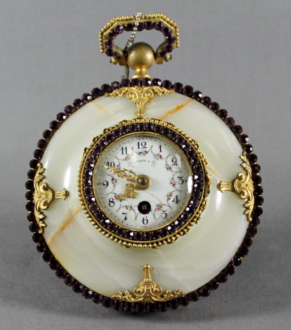 TIFFANY AND CO. JEWELLED BRONZE AND MARBLE BAROMETER - 2